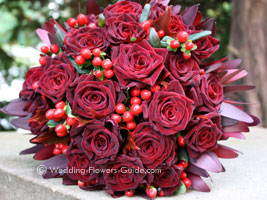 romantic red rose wedding bouquet featuring Baccara roses