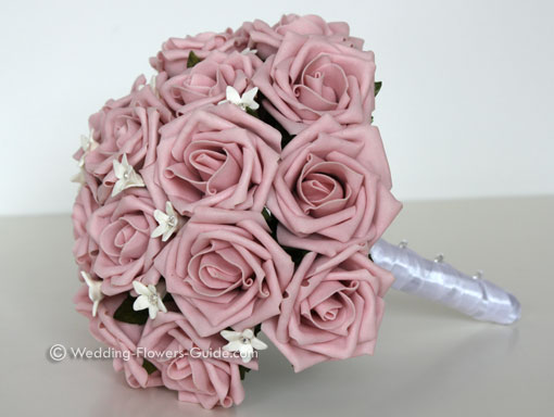 pink foam rose wedding bouquet