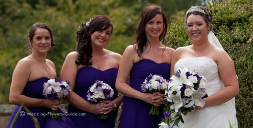 real wedding flowers with a purple color theme