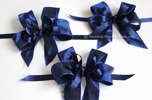 navy blue bows made to go on bridesmaids posies