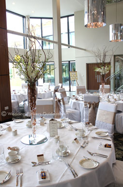 tall wedding centerpieces at Ashorne Hill Leamington Spa