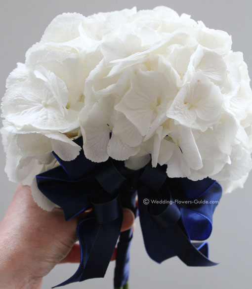 close up of white hydrangea bridesmaids posy bouquet with matching navy blue detailing